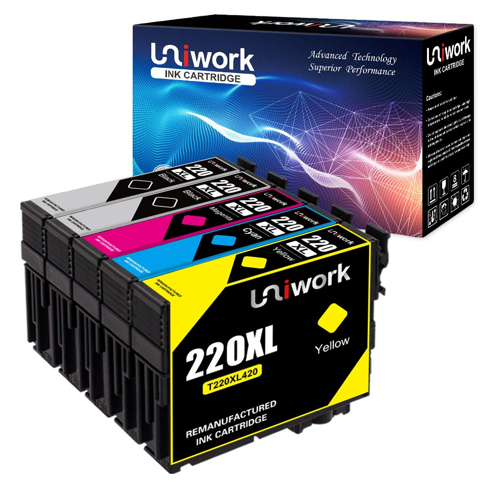 Uniwork Remanufactured Ink Cartridge Replacement for Epson 220 220XL (5 Pack) Use for Epson WorkForce WF-2760 WF-2750 WF-2630 WF-2650 WF-2660 XP-320 XP-420 Printer (2 Black 1 Cyan 1 Magenta 1 Yellow) by Uniwork