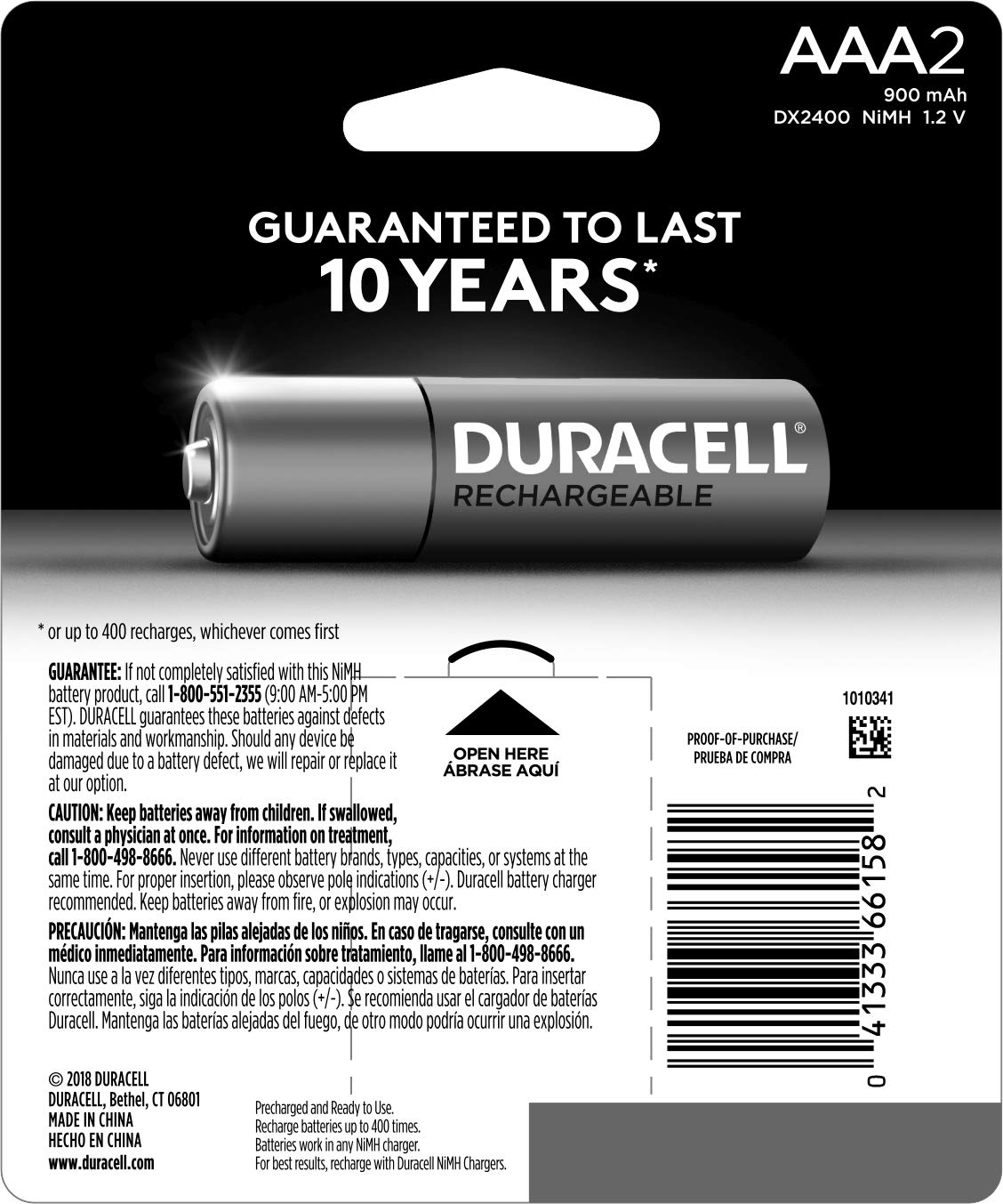 Amazon.com: Duracell - Pilas AAA recargables - Larga ...