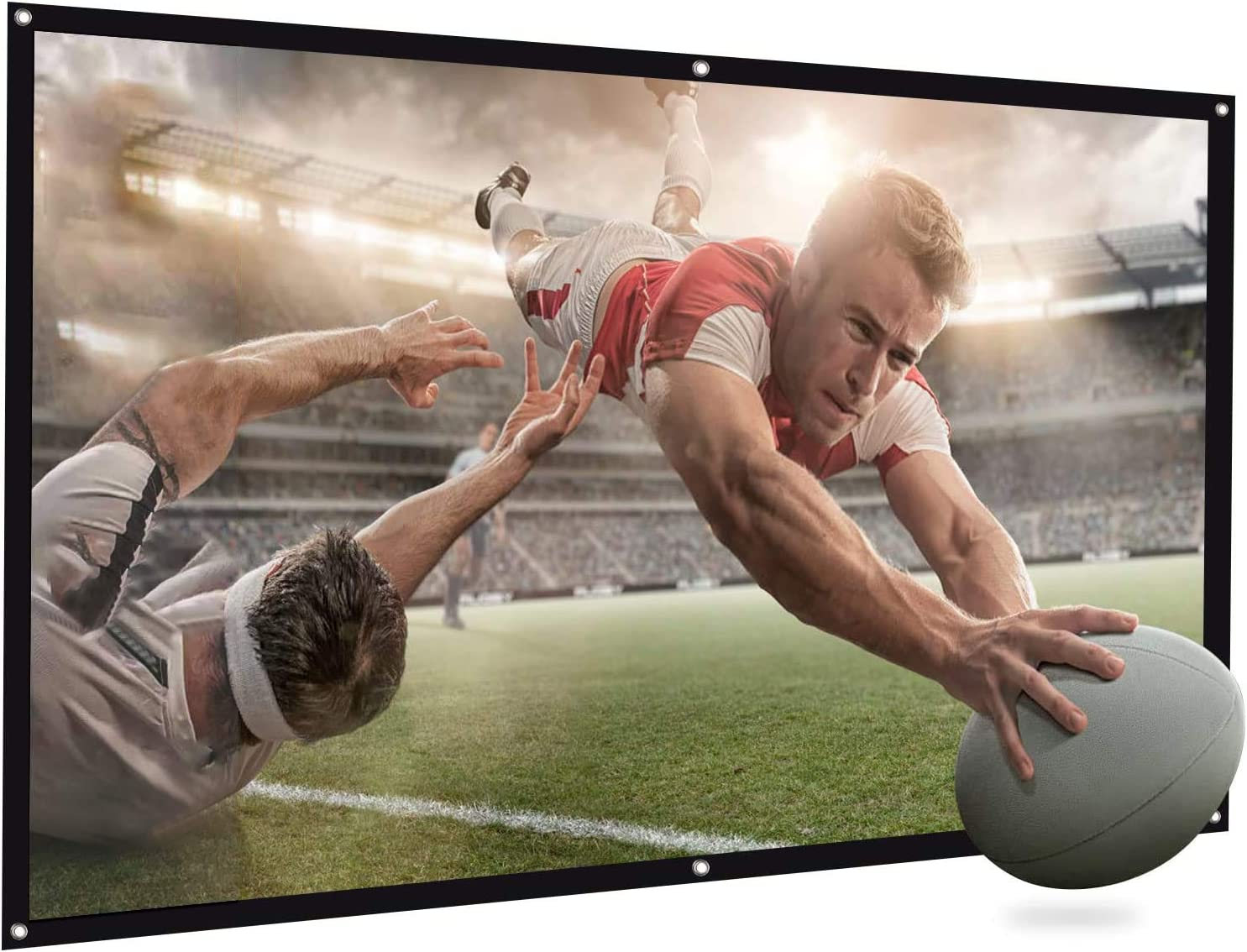 Projector Screen, Bomaker Projection Screen 16:9 HD 100 inch Foldable Anti-Crease Portable Washable Projector Screen for Home Theater Outdoor Indoor Support Double Sided Projection