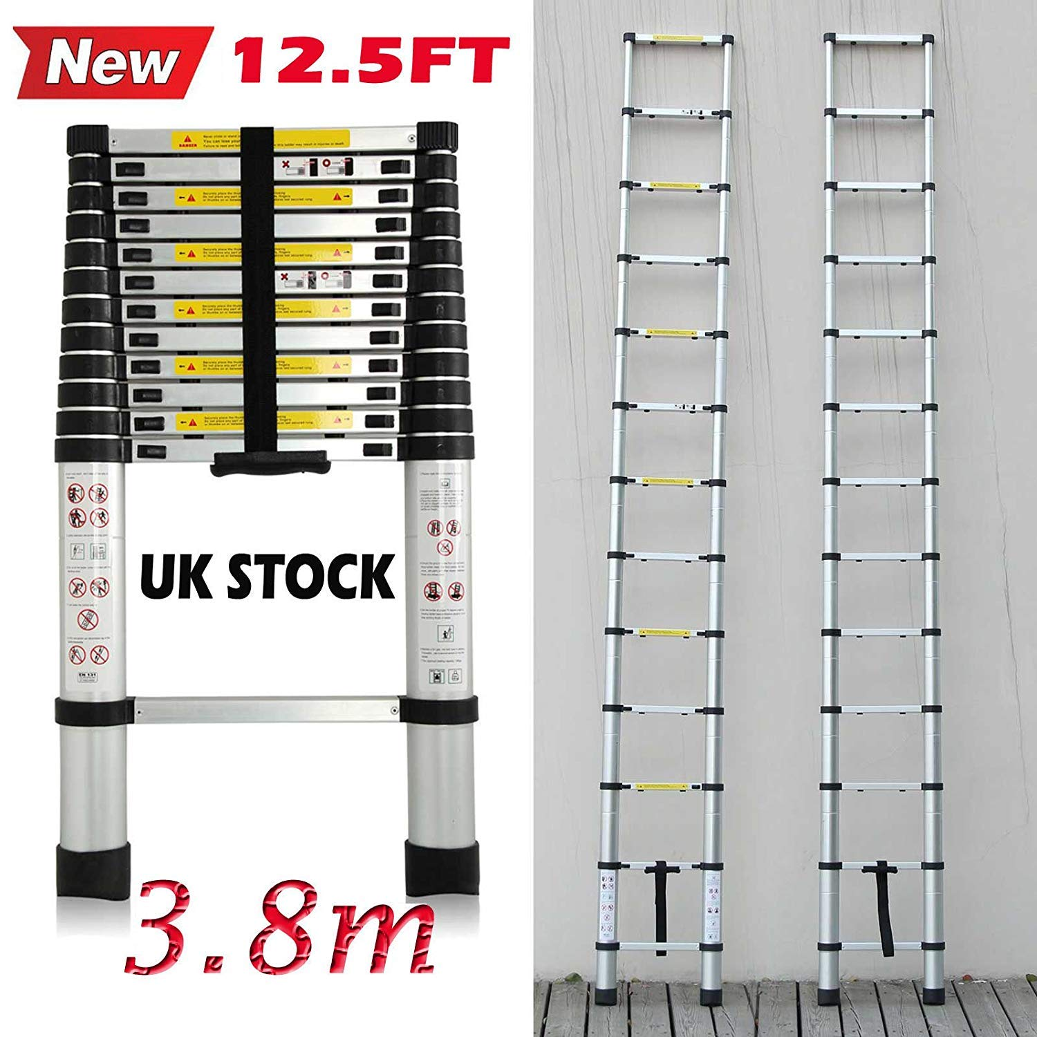 Telescopic 2.6M Aluminum DIY Extension Single Straight Muli Purpose Ladder Step Climb Light Weight Maximum Load 150KG 330lbs Compact and Sturdy, UK Stock Autofather