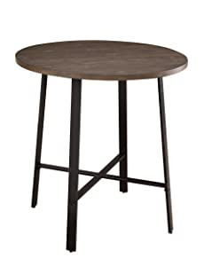 """Homelegance Chevre 36"""" Round Industrial Style Counter Height Table, Brown"""