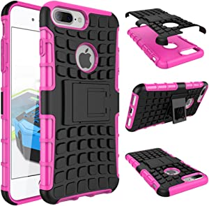 iPhone 7 8 Plus Armor Case with Kickstand Hard Heavy Duty Rubber Dual Layer Drop Protection 7/8Plus Shockproof Cover (Pink)