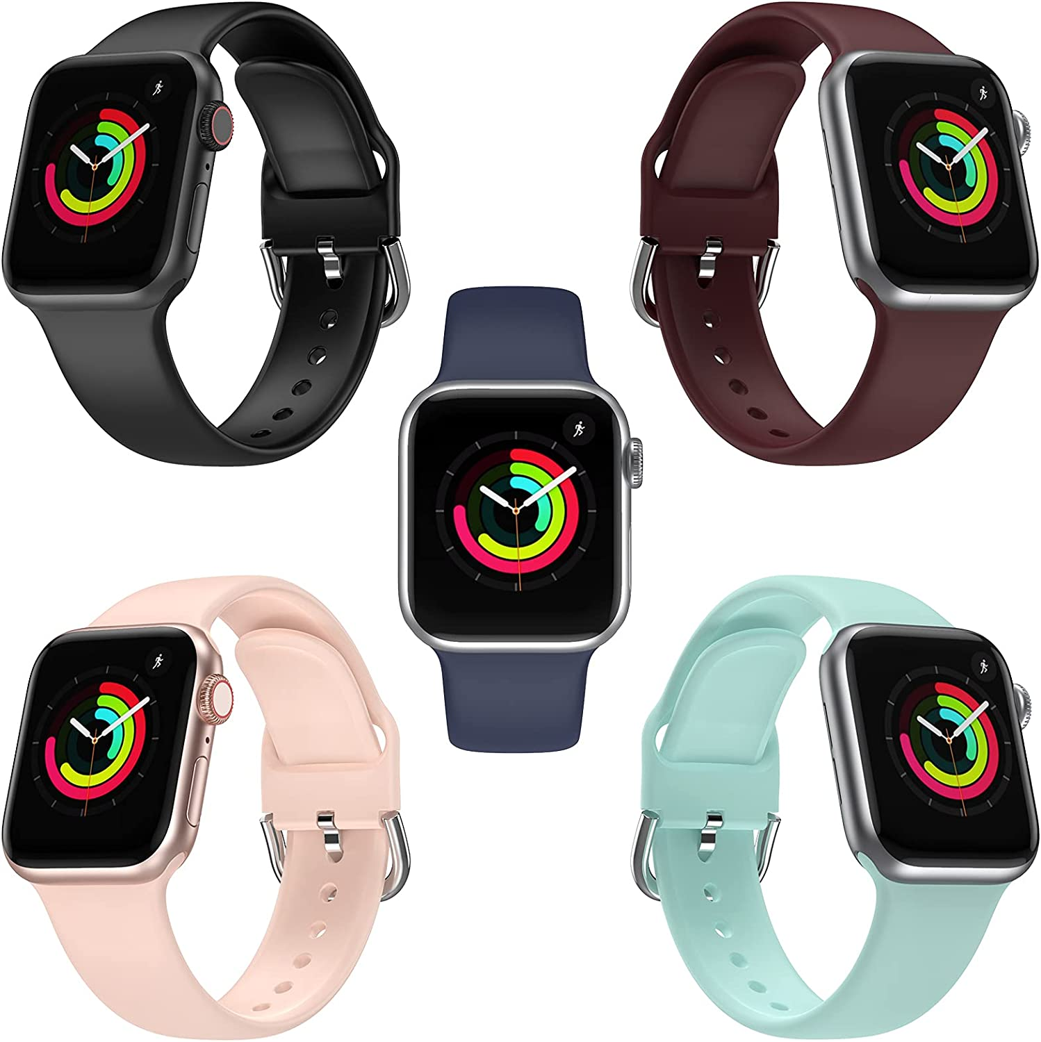 PLWENST 5 Pack Sport Bands Compatible with Apple Watch Bands 44mm 42mm 40mm 38mm iWatch Series SE 6 5 4 3 2 1, Soft Silicone Women Men Watchband Replacement Strap Band iWatch Accessories Sport Edition