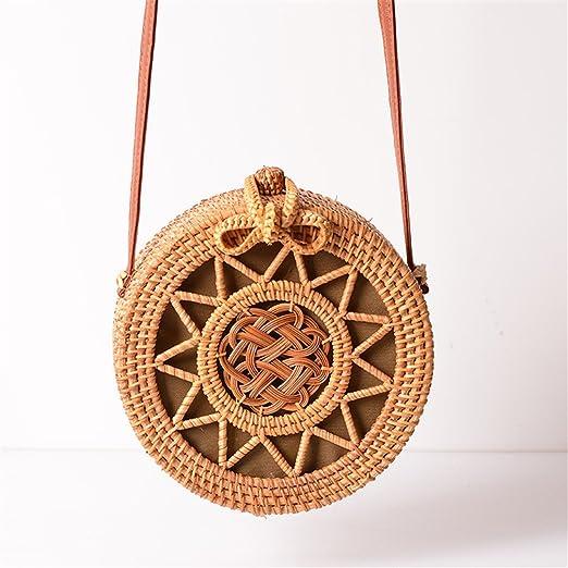 Amazon.com: Woven Rattan Bag Round Straw Shoulder Bag Small Beach Handbags Women Summer Hollow Handmade Messenger Crossbody Bags: Sports & Outdoors