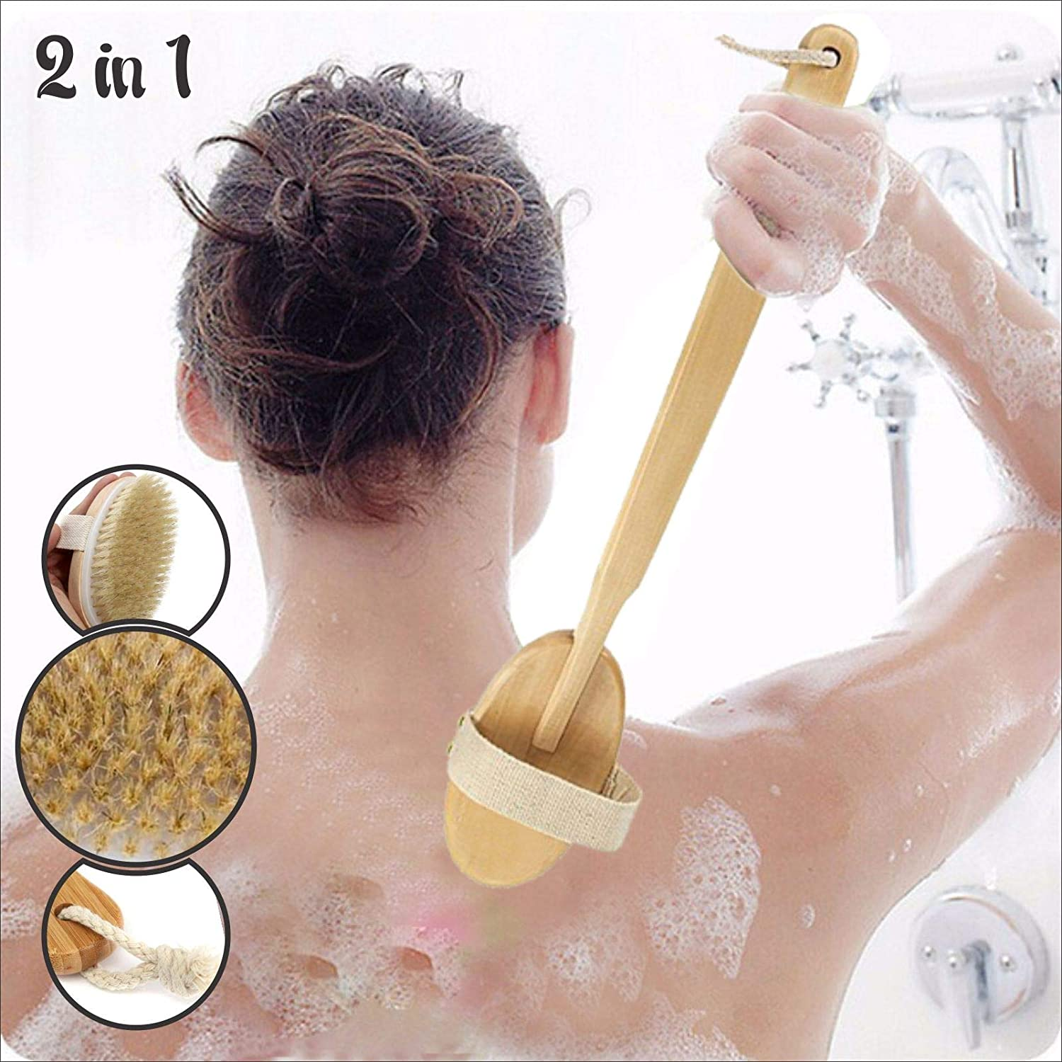 Back Scrubber, Detachable Body Brush Wooden Handle Bristle Back Shower Brush for Back Exfoliator, Cellulite Reduction and Massaging Kungfu Mall
