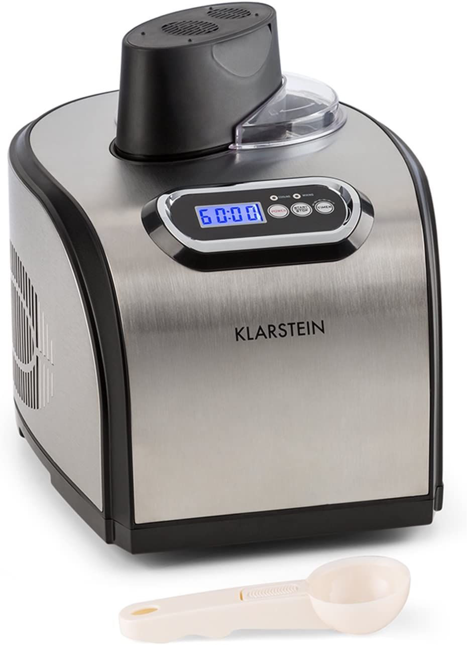 KLARSTEIN Sweet Dreams Ice Cream Maker Compression Cooling Family Size for up to 50 fl.oz finished Ice Cream oz finished Gelato, Sorbet or Frozen Yogurt Stainless Steel
