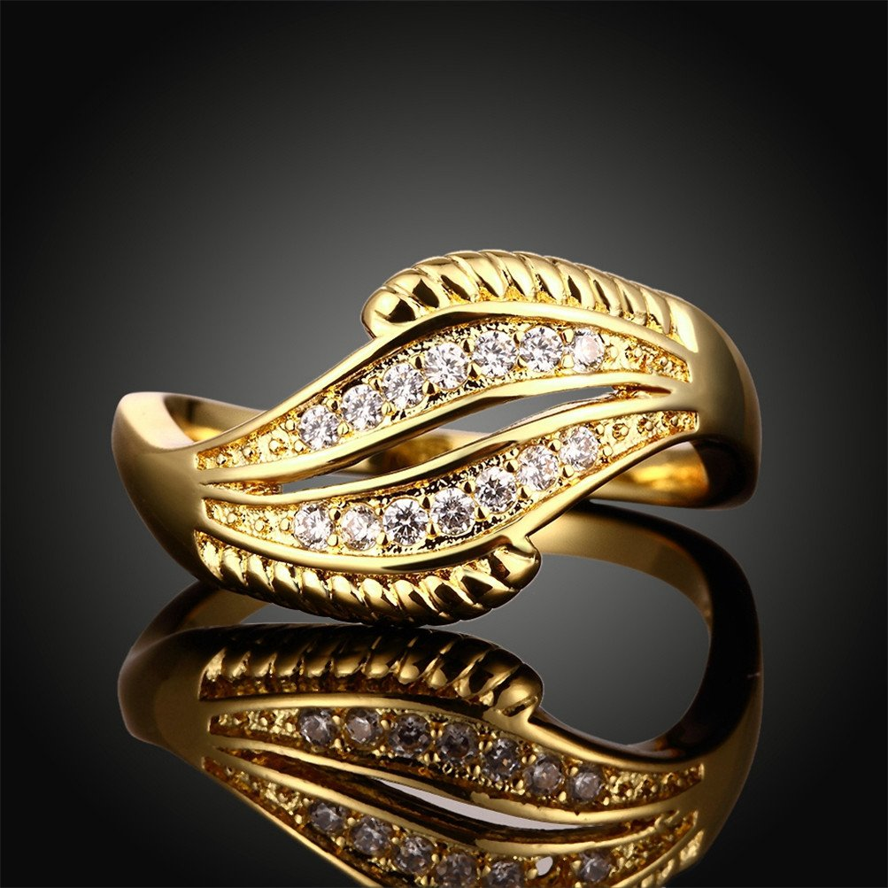 18K Gold Plated Wave Ring Wedding Band Statement Jewelry Simulated Diamond Infinity Love by Mrsrui (Image #4)