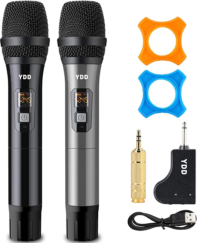 Amazon.com: YDD Bluetooth Wireless Microphone UHF Wireless Dual Handheld Dynamic Mic System Set with Rechargeable Receiver for Karaoke Singing Wedding DJ Party Speech Church Class Use(Black and Grey): Musical Instruments