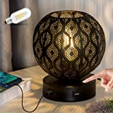 Lifeholder Bedside Lamp, Modern Globe Touch Lamp with Dual USB Ports, 3 Way Dimmable Table Lamp Include Edison Bulb, Decorati