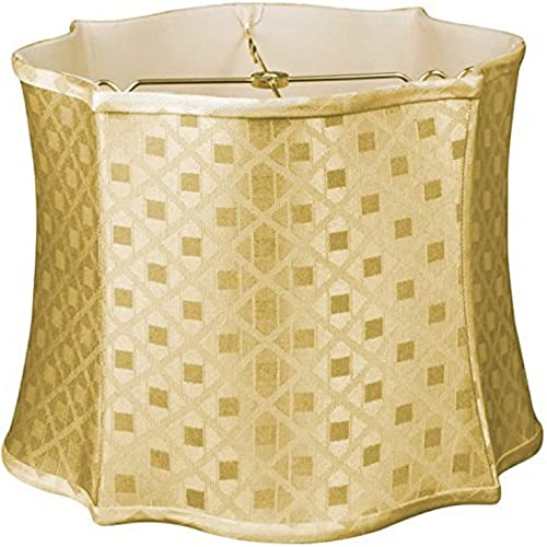 Royal Designs DDS-211-15GL 14 x 15 x 11 Fancy Scalloped Square Designer Lamp Shade, Gold