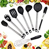 GFK Kitchen Utensils - Set of 8 Cooking Utensils - Made of Silicone and Stainless Steel - Used For Serving Food, Cooking, and Baking - Amazing Nonstick and Non-scratch Heads