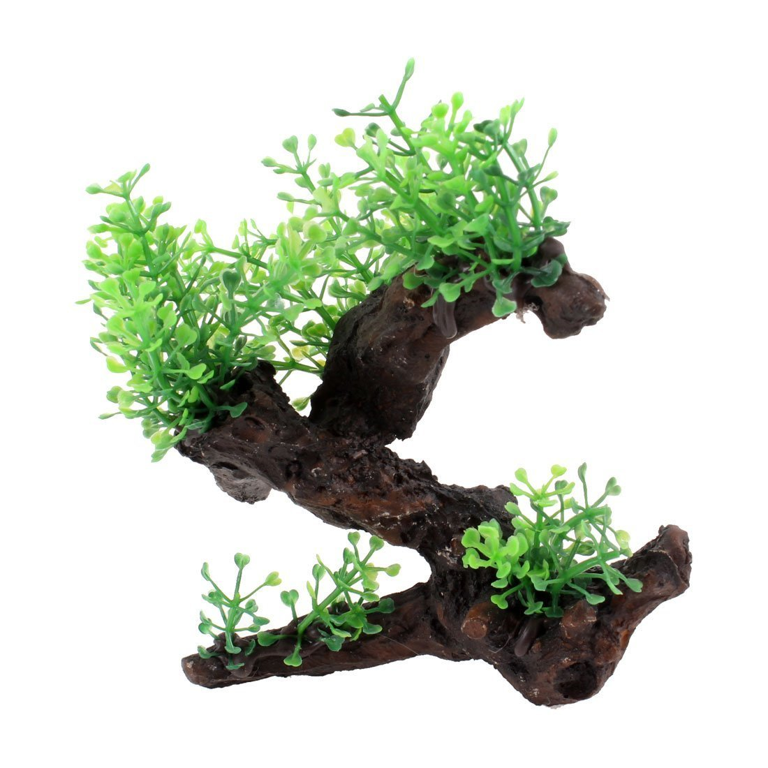 1Pc 5.7  High Aquarium Ornamental Resin Tree Decor Green Dark Brown