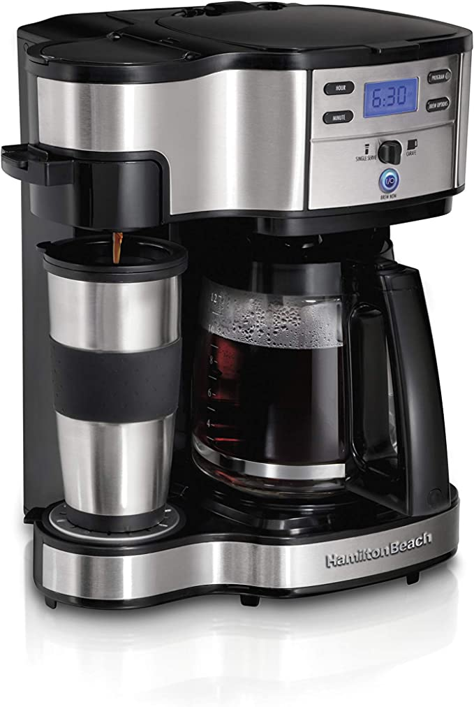 Amazon.com: Hamilton Beach 2-Way Brewer Coffee Maker, Single-Serve and 12-Cup Pot, Stainless Steel (49980A), Carafe: Single Serve Brewing Machines: Kitchen & Dining