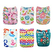 Babygoal Baby Cloth Diapers, One Size Reusable Washable Pocket Nappy, 6pcs Cloth Diapers+6 Microfiber Inserts+4pcs Bamboo Inserts,Girl color 6FG28