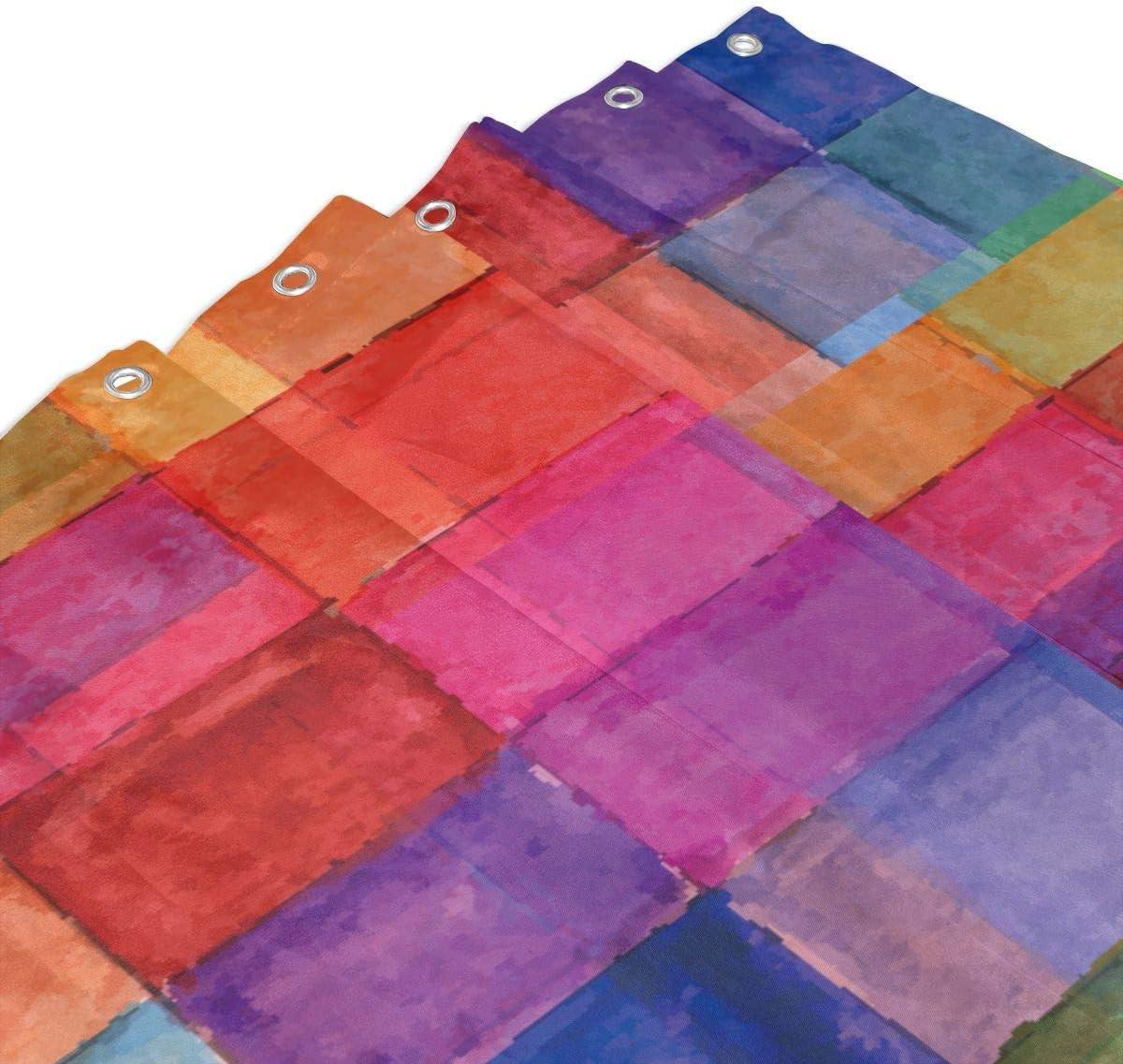 KATERN Quadrato Geometrico colorato Arcobaleno a Forma di Effetti nebulosi sfocati Disegno dellacquerello Tenda della Doccia della Decorazione Domestica 60inX72in