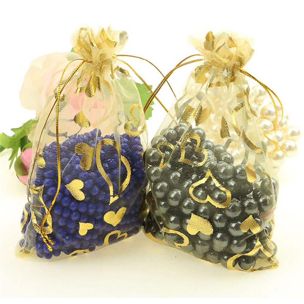 Hapwedding Organza Drawstring Bags/Candy and Gift Bags for Festival,Party and Wedding Favors (Gold with heart,200PCS)