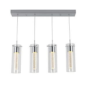 Artika OME59B-HD2 4-Pendant Dimmable Light Fixture with Integrated Led and Premium Bubble Glass Chrome Plated