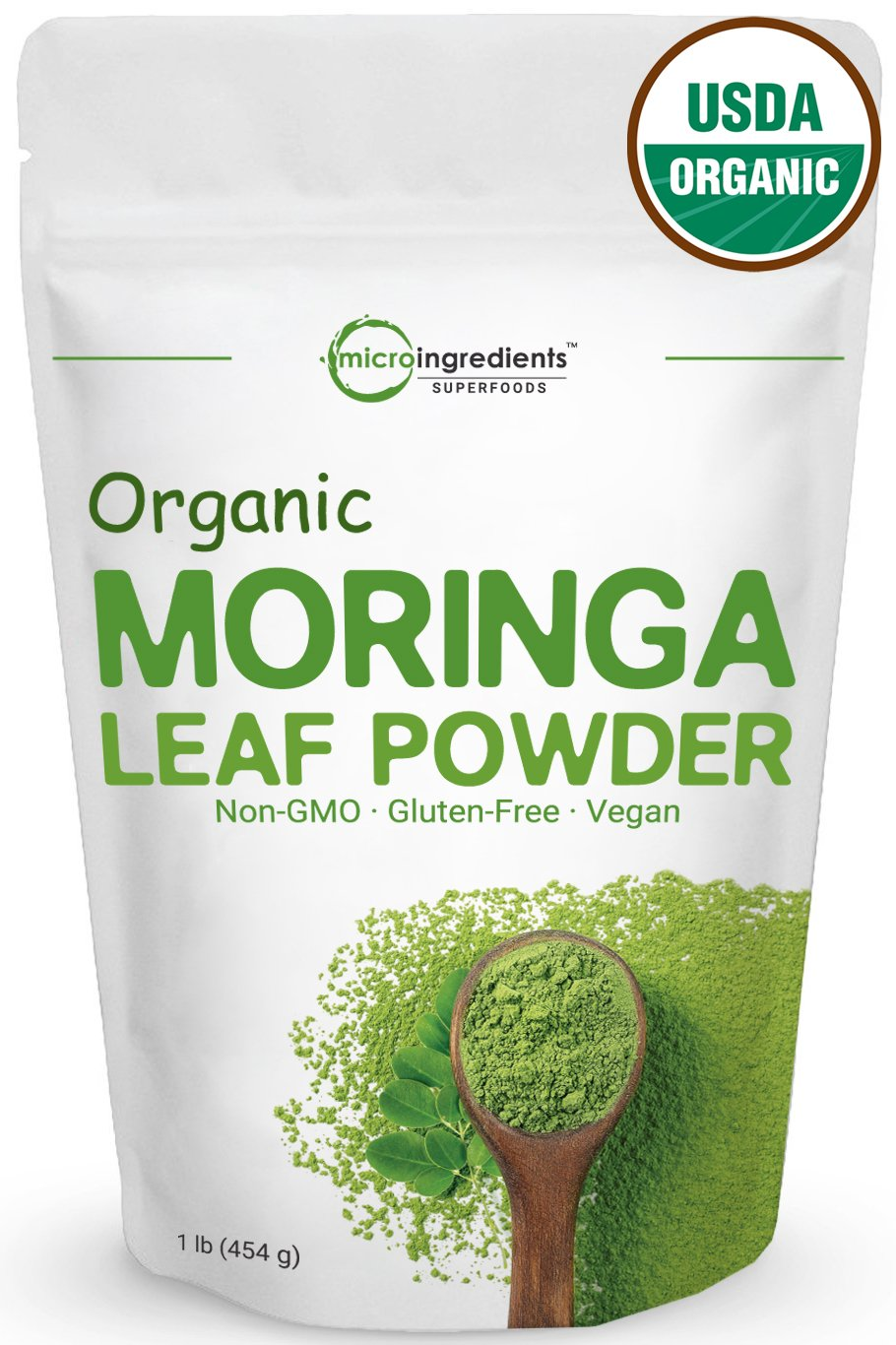 Pure Organic Moringa Oleifera Leaf Powder, 1 Pound, Natural Energy Booster for Green Drinks & Smoothies, Non-Irradiated, Non-Contaminated, Non-GMO. Sun-Dried and Vegan Friendly.