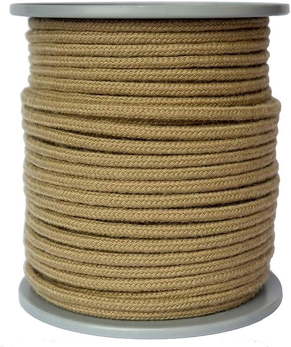 Cuerda de cáñamo sintético de 5 mm de diámetro, 50 metros en bobina de disco, 100% polipropileno, cuerda trenzada de 16 hebras, color lino.