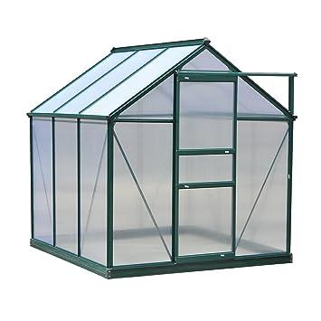 Outsunny Serre de Jardin Aluminium Polycarbonate 3,65 m² dim. 1,9L x 1,92l  x 2,01H m Lucarne, Porte coulissante + Fondation Incluse alu. Vert ...