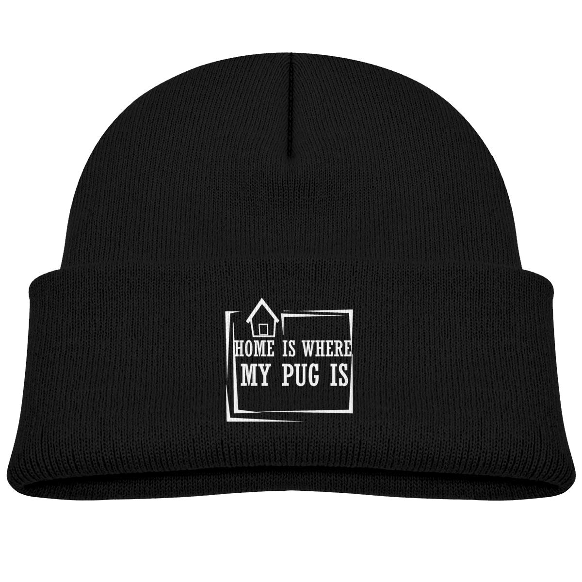 Hanfjj Kefdk Home is Where My Pug is Infant Knit Hats Kids Beanies Cap