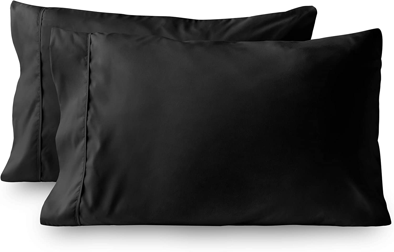Bare Home Premium 1800 Ultra-Soft Kids Microfiber Pillowcase Set - Double Brushed - Hypoallergenic - Wrinkle Resistant (Standard Pillowcase Set of 2, Black)