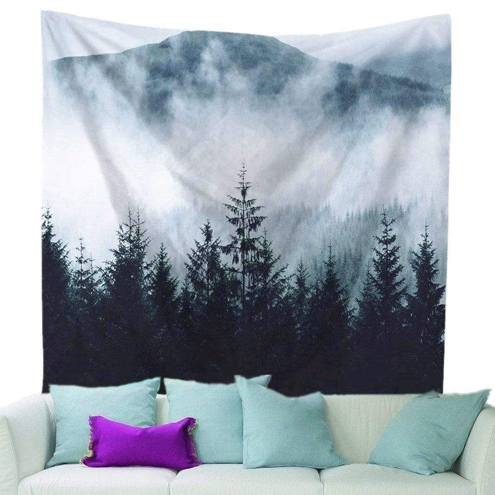 ZHH Adventure Begins Tapestry Snow Mountain Wall Hanging Slogan Bohemian Indian