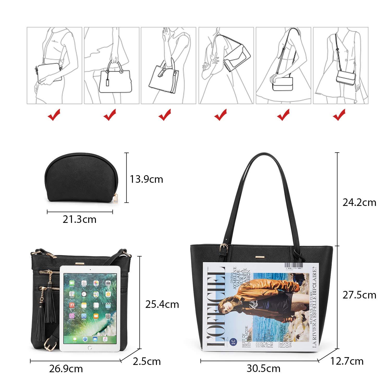 LOVEVOOK Handtaschen Damen Set, Tasche für Damen Umhängetasche Schultertasche Geldbörse Cross Body Bag Shopper Henkeltasche Tote Tasche 3PCS PU Leder Schwarz