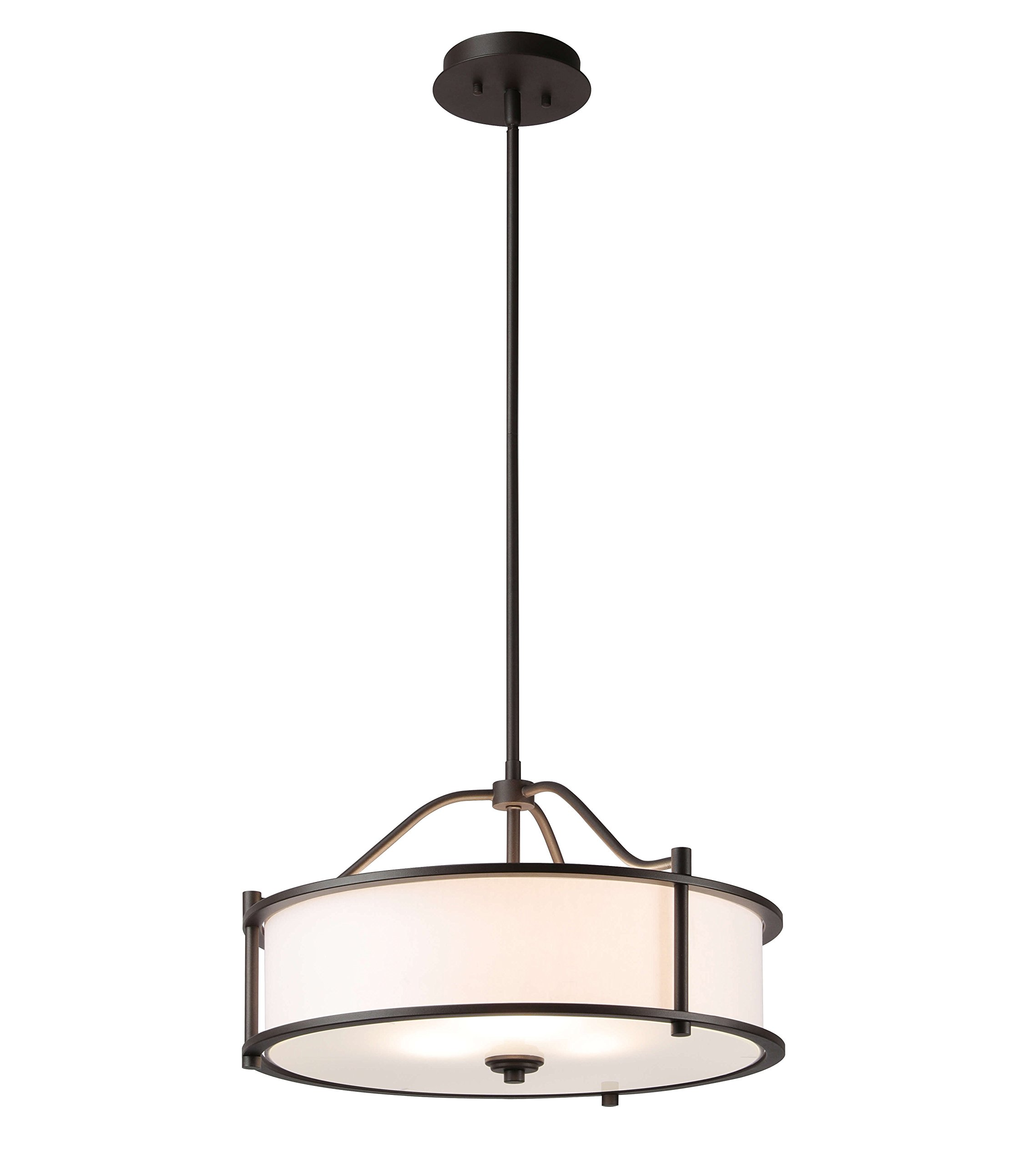 Pendant Lighting 18 inch 3 Light Drum Pendant Light with Fabric Shade and Glass Diffuser in Dark Bronze, Classic Convertible Drum Chandelier for Living & Dinning Room XiNBEi-Lighting XB-P1199-DB by XiNBEi Lighting