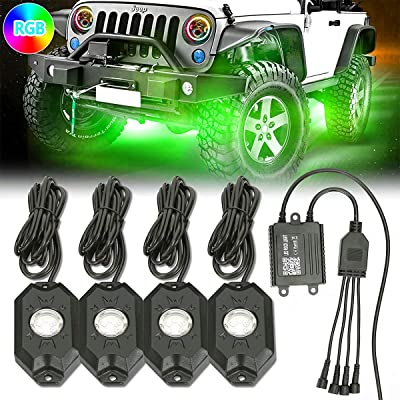 AMONLY RGB Neon Led Rock Lights, 6pcs Led Chips, Wireless Bluetooth Controller, Mode of DIY, Music, Flash and Timer for Exterior Cars Truck ATV SUV Jeep Boat Yacht Motorcycle, 4 Pods: Automotive