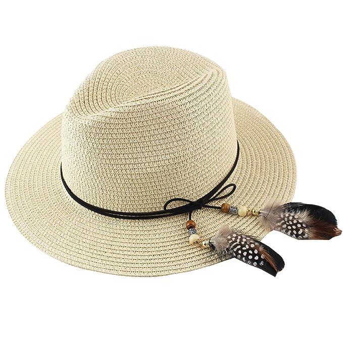 3de8c2023 Women Straw Fedora Hat Wide Brim Summer Foldable Panama Beach Sun Hat UPF50+