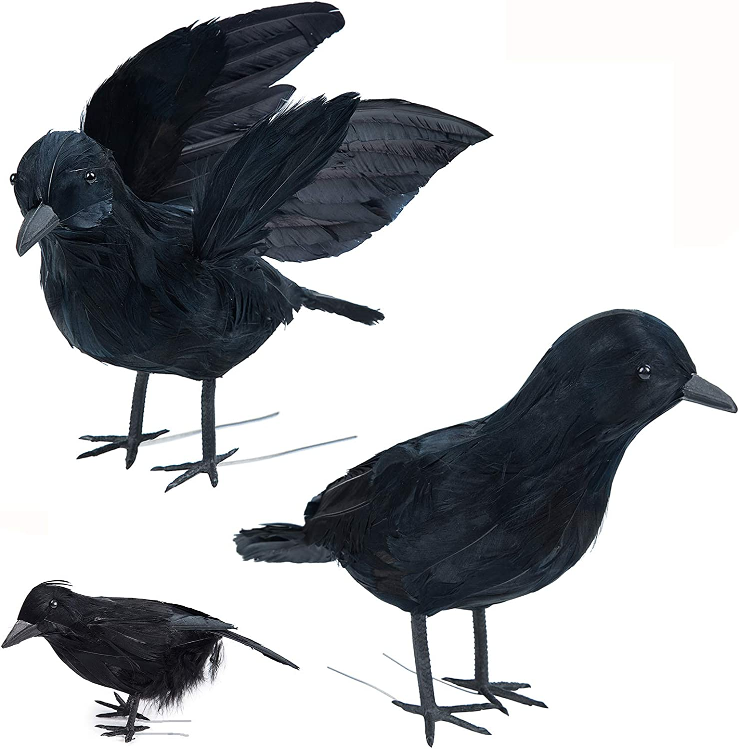 Tinsow 3 Pcs Halloween Realistic Handmade Crow Prop Black Feathered Crow Fly and Stand Crows Ravens for Outdoors and Indoors Crow Decoration (Black, 3)