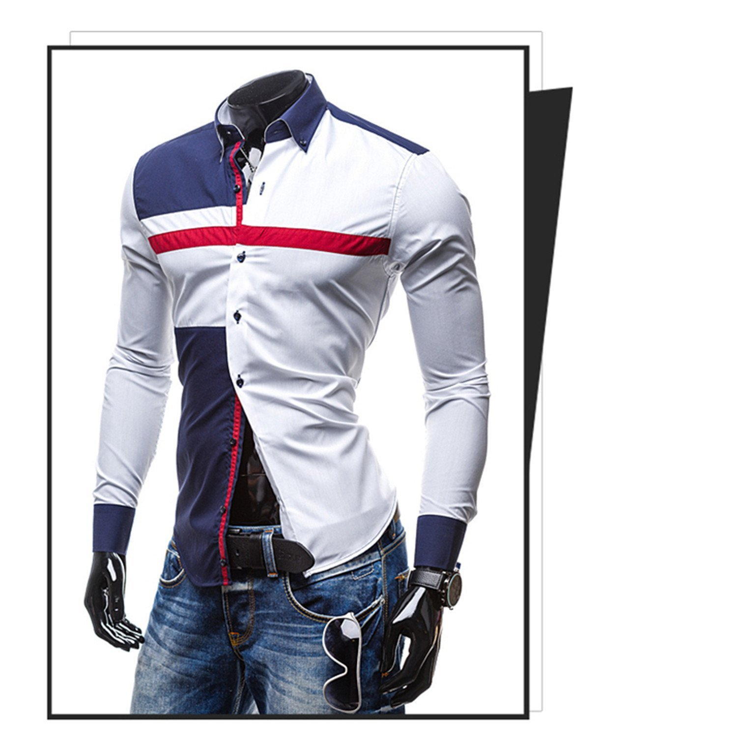 OnIn NEW Spring//Autumn Mens Fashion Hit Color Patchwork Long Sleeve Slim Fit Formal Shirt Casual Male Tops Camisas
