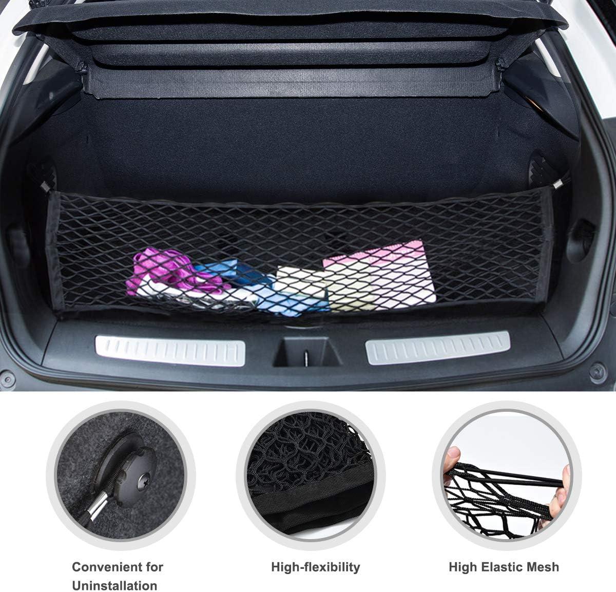 40 cm x 90 cm bolsa de almacenamiento de malla el/ástica para equipaje de ni/ños Laelr Red de almacenamiento para maletero de coche organizador de carga trasera universal