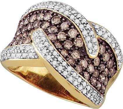 anillos oro amarillo con diamantes marrones y franja pequeña con diamantes blancos