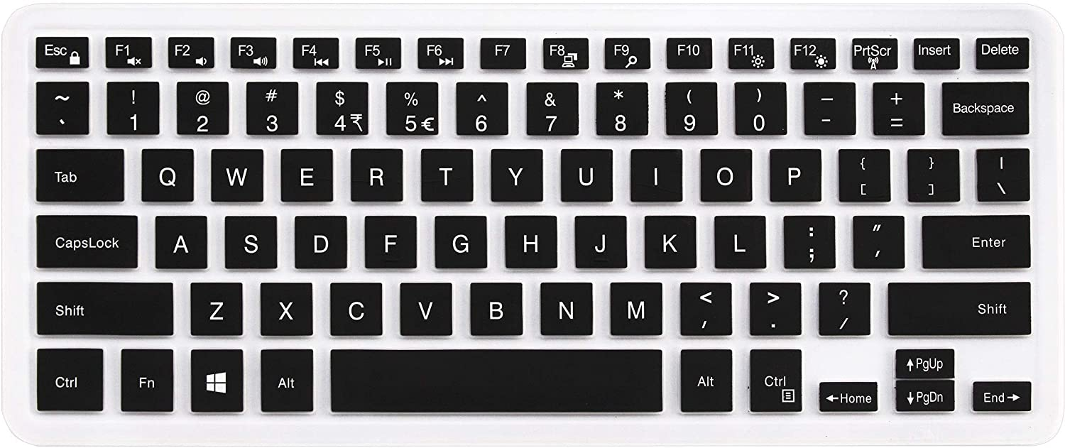 Keyboard Cover for Dell Inspiron 14 5481 5482 5485, Dell Inspiron 13 5000 7000 Series 5370 5379 7373 7375 7368 7378 7386, Dell Inspiron 15 5000 7000 Series i5568 7573 7569 (No Numeric Keypad)- Black