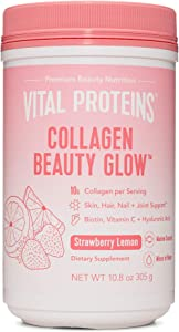 Vital Proteins Collagen Beauty Glow - Strawberry Lemon 10.8 oz Canister