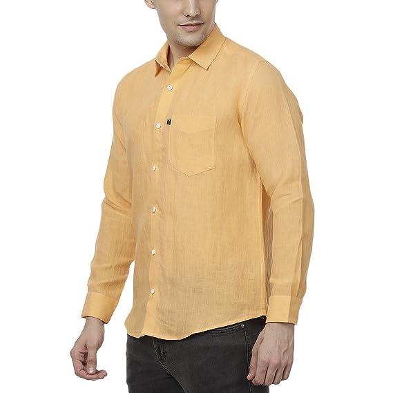 a62480d6c0e Men s Orange Casual Formal Pure Linen Shirt