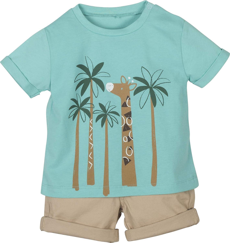 Completo Bambino Neonato in Cotone Biologico Maglietta t-Shirt Short Pantaloncino e Bretelle 3-24 Mesi