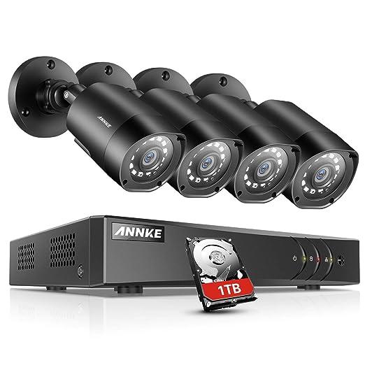Sannce 8 ch Full 960H vídeo recoder código QR Scan fácil configuración de seguridad DVR con 4 resistente al agua 800TVL al aire libre 110 ft super visión ...