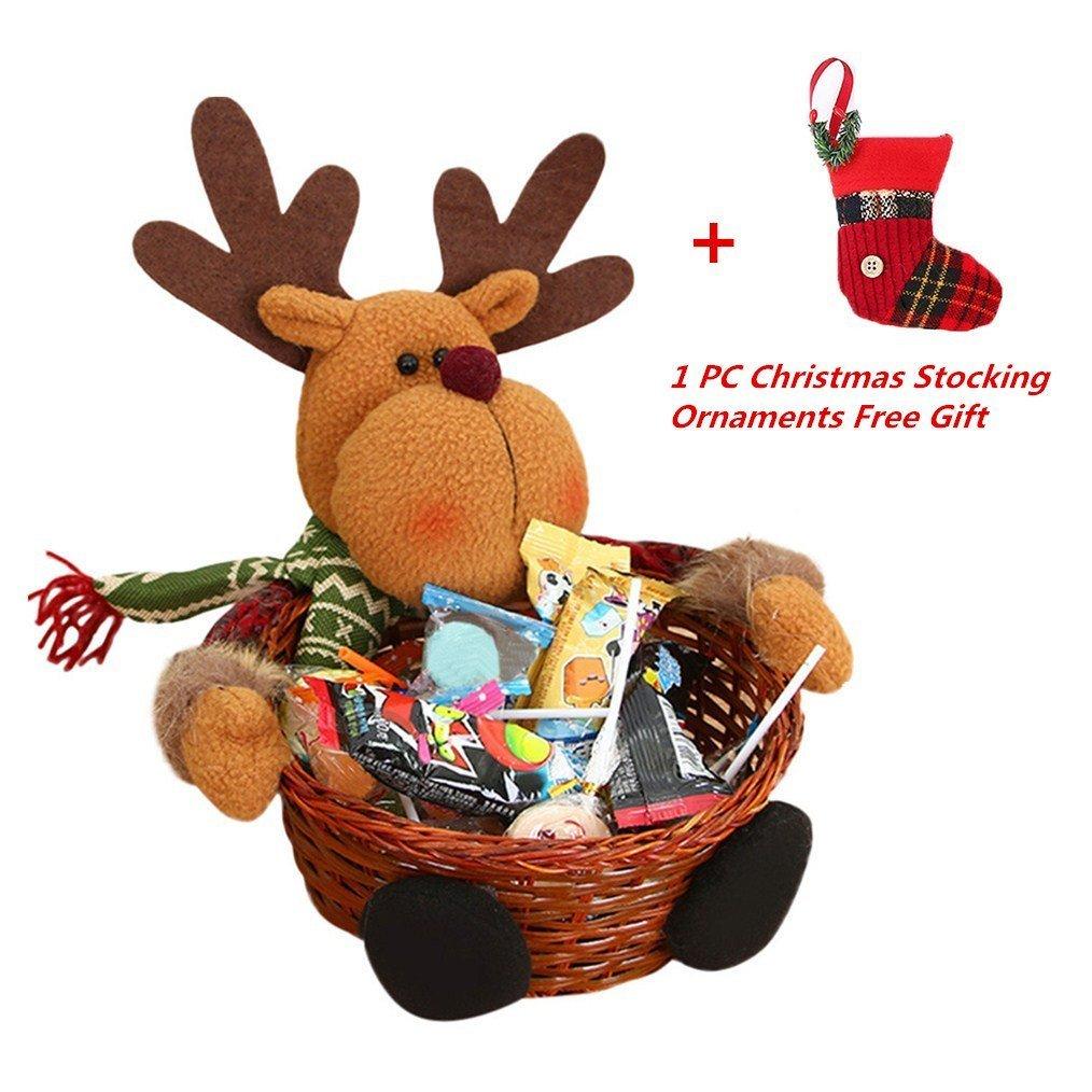 Christmas Candy Storage, Keepwin Xmas Decoration Ornament Santa/Snowman/Elk Basket Gift (18*18CM, Elk) Others