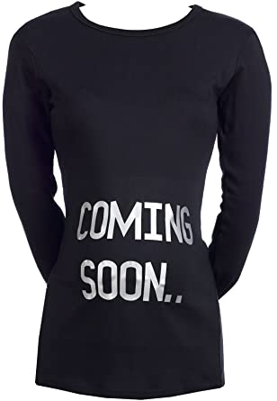 1365211fed415 SR - Coming Soon Organic Women's Maternity Top - Maternity Clothing, Black,  Small (