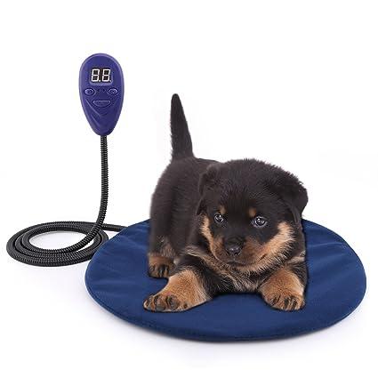 Pawaboo Cojín de calefacción eléctrica para mascotas, 29.21 cm de diámetro, Cama calentador,
