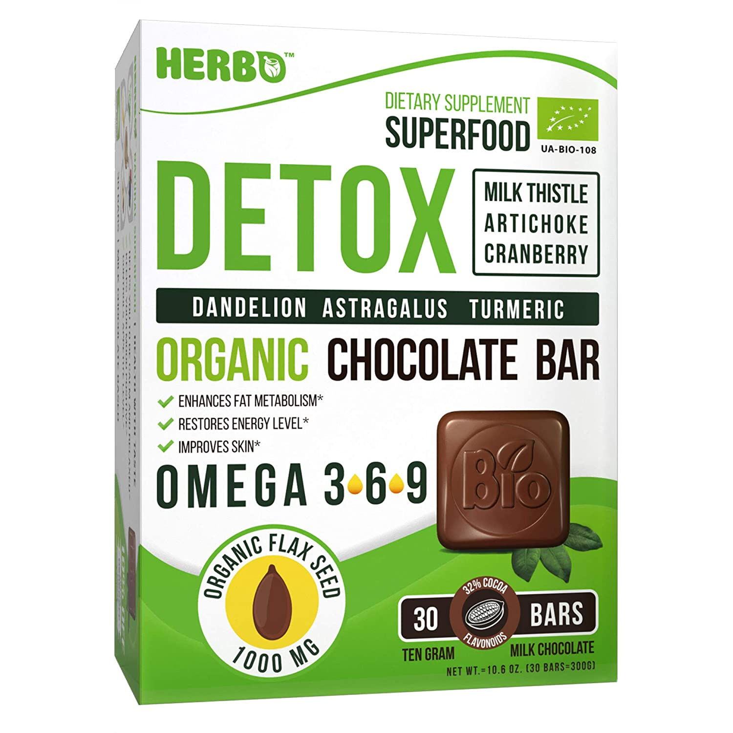 Herbo Superfood Organic Detox in Milk Chocolate – Best Liver Cleanse, Weight Loss Body Cleanse – 30 Delicious Bars with Milk Thistle, Artichoke, Cranberry, Dandelion, Astragalus, Turmeric Omega 3