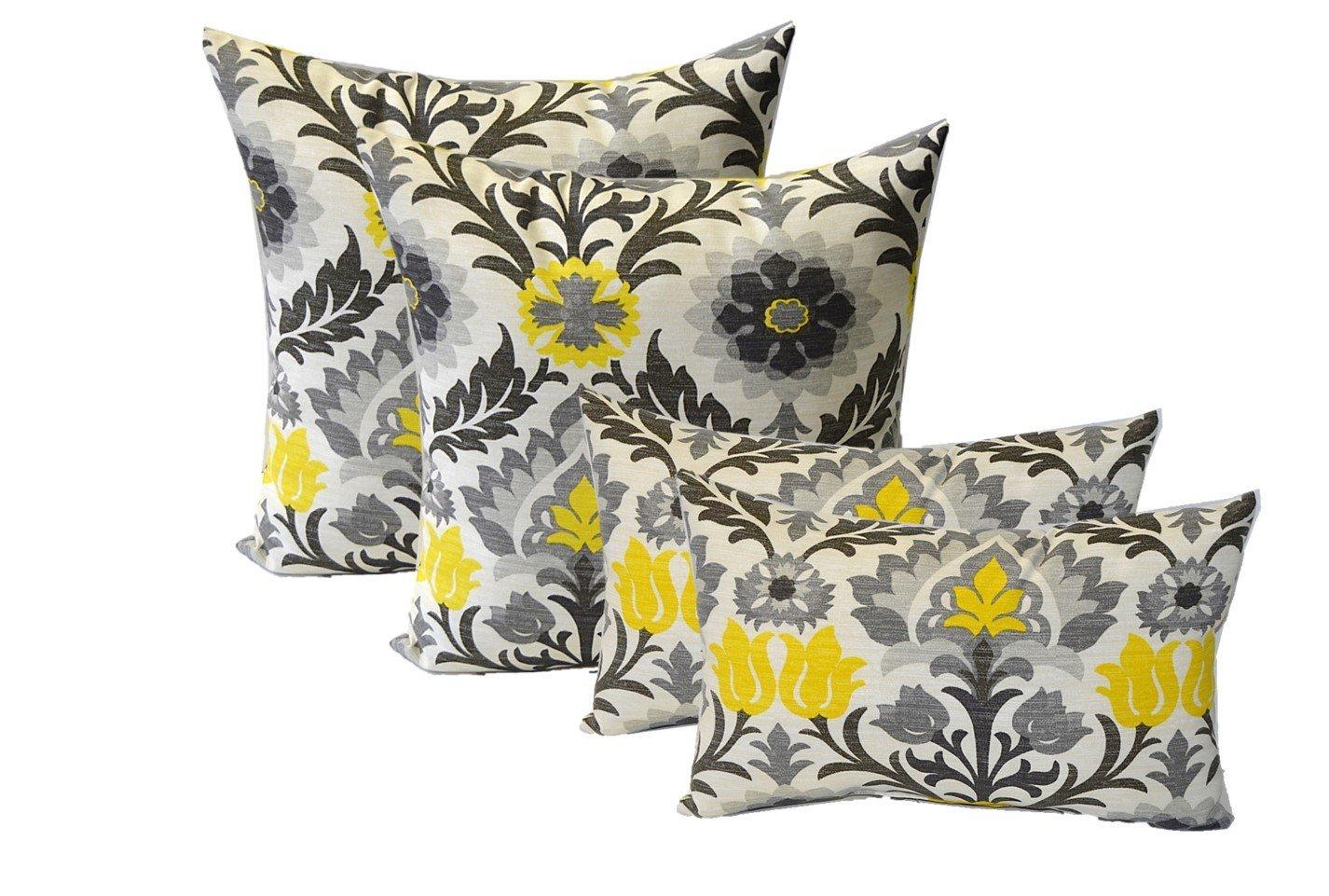 Set of 4 Indoor / Outdoor Pillows - 17'' Square Throw Pillows & 11'' x 19'' Rectangle / Lumbar Decorative Throw Pillows - Yellow, Gray, Black Ornate Floral