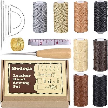 Juego de 18 hilos encerados con agujas de coser a mano y dedal de punzón de perforación 150D 1 mm para costura de piel artesanal DIY (18 kit de costura de cuero):