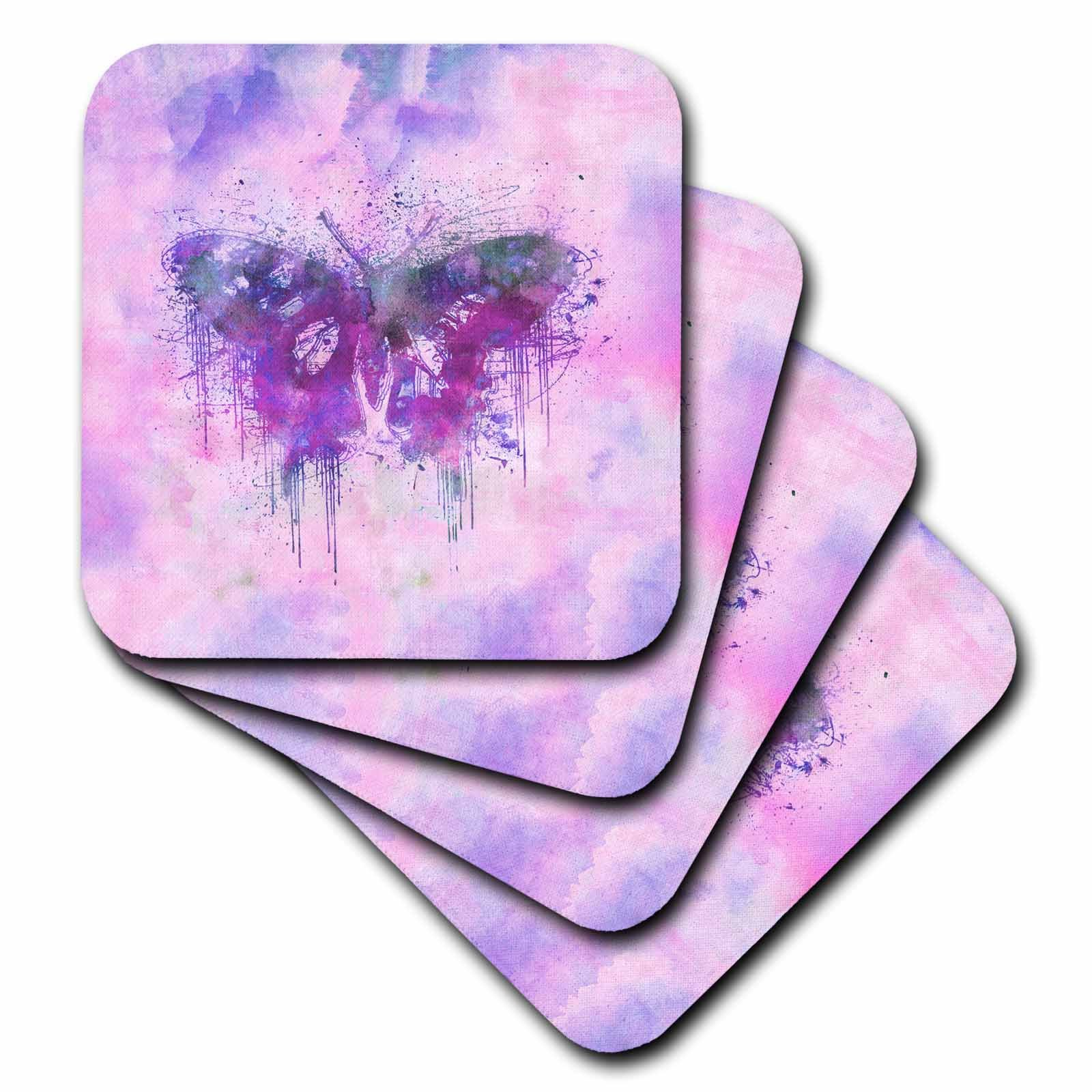 3dRose Andrea Haase Animals Illustration - Artsy Butterfly Illustration In Pink And Purple - set of 4 Coasters - Soft (cst_271199_1)