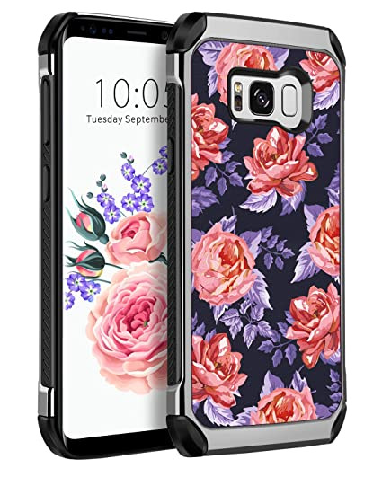 Galaxy S8 Case Samsung S8 Floral Case YINLAI Shockproof Slim Hybrid Flowers Pattern Design Hybrid Soft TPU Bumper Hard PC Chrome Frame Protective ...