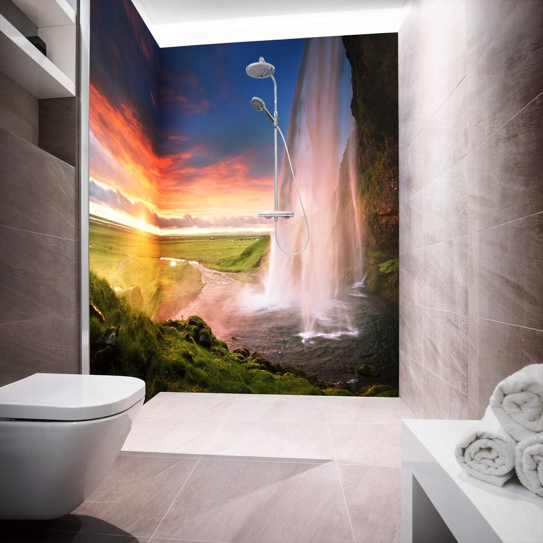 Mampara de ducha de aluminio compuesta como placa individual o juego de placas para ducha de esquina corte a medida – Diseño Epic Landscape, 3 placas (forma de U), 70 x