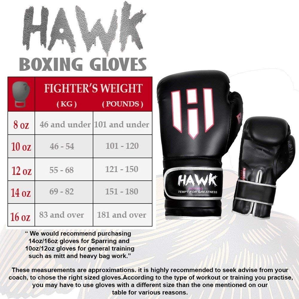 Hawk Boxing Gloves for Men /& Women Training Pro Punching Heavy Bag Mitts UFC MMA Muay Thai Sparring Kickboxing Gloves 1 Year Warranty!!!!